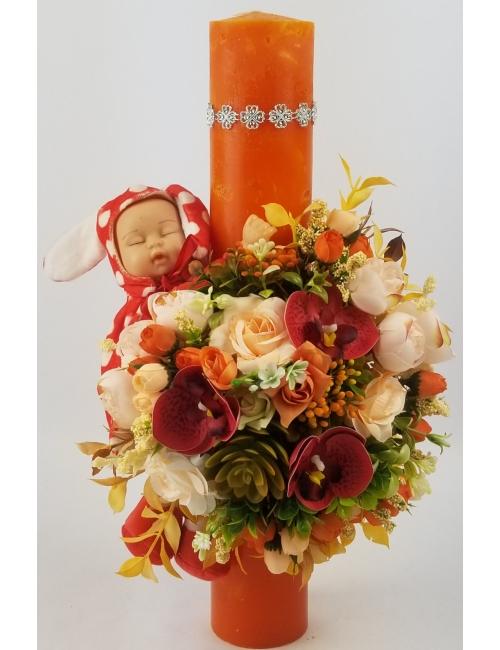 Lumanare botez - flori de matase B150